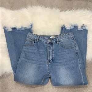 Forever21 Ripped Flare Ankle Jeans